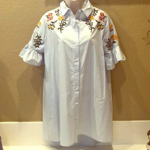 Zara button front embroidered dress